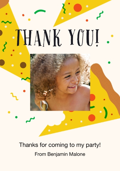 Kids Birthday Thank You 5x7 Cards, Premium Cardstock 120lb, Card & Stationery -Pizza Party Thank You
