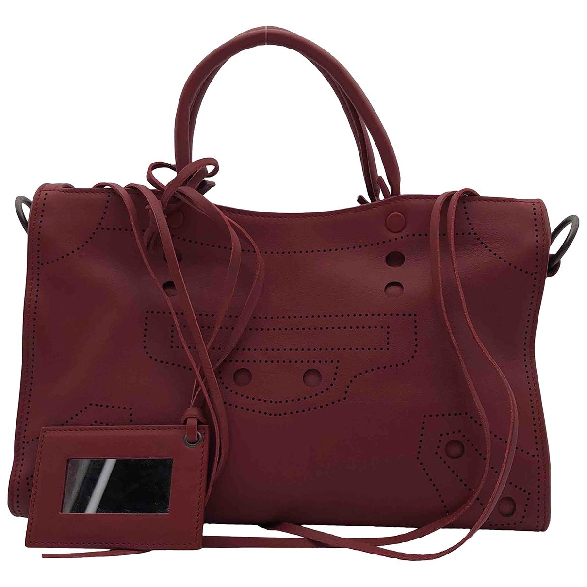 Balenciaga City Burgundy Leather handbag for Women N