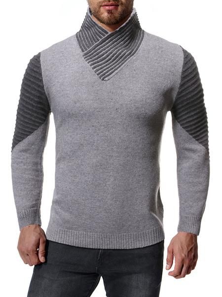 Milanoo Men\\'s Sweaters High Collar Color Block Winter Pullover Knitwear