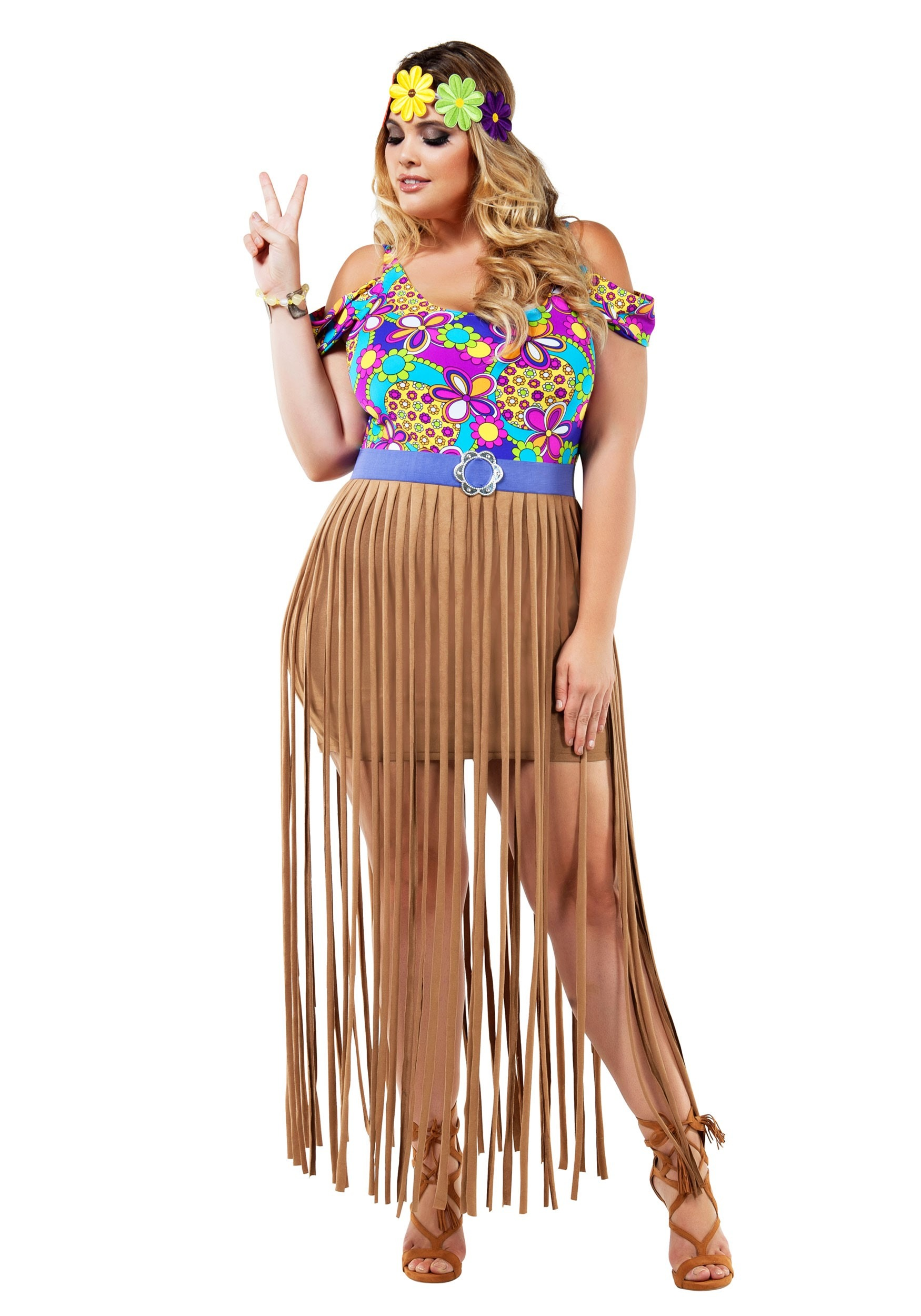 Plus Size Hippy Costume for Women