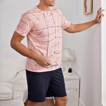 Schlafanzug Set mit abstrakter Linie Muster