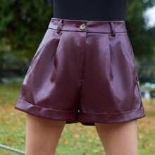 Fold Pleated PU Leather Cuffed Shorts