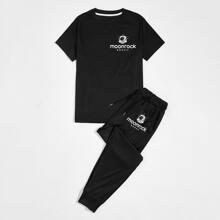 Men Letter Graphic Tee & Drawstring Sweatpants
