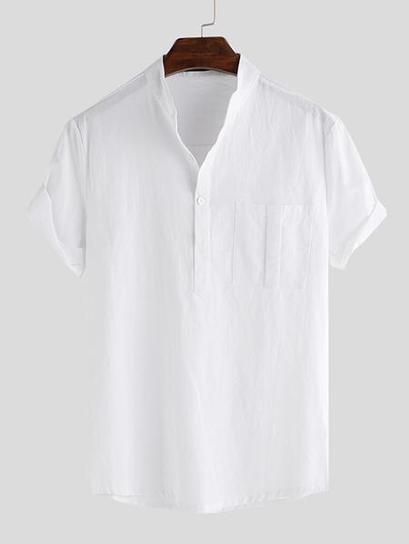 Yoins INCERUN Men Stand Collar Cotton Casual Loose Fit Short Sleeve Shirt