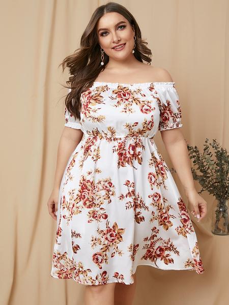 YOINS Plus Size White Random Floral Print Off The Shoulder Dress