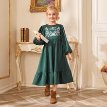 Girls Floral Embroidery Bishop Sleeve Dress
