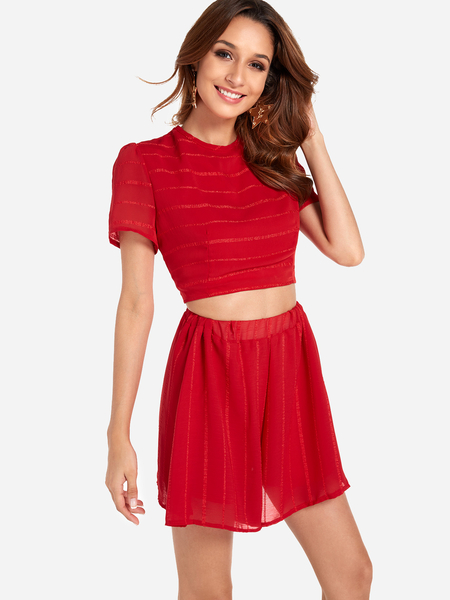Yoins Red Lace-up Design Stripe Crew Neck Short Sleeves Two Piece Outfits