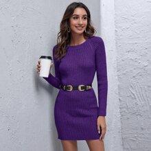 Strick Pulloverkleid mit Raglanaermeln ohne Guertel