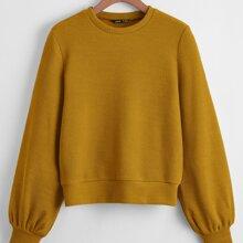 Einfarbiges Rippenstrick Sweatshirt mit Laternenaermeln