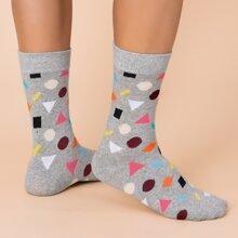 Maenner Socken mit Geo Muster
