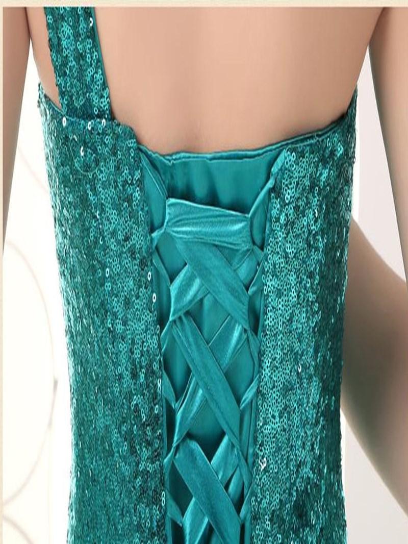 Classy Sequins Appliques One-Shoulder Mermaid Evening Dress