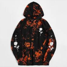 Men Letter and Floral Print Tie Dye Hoodie