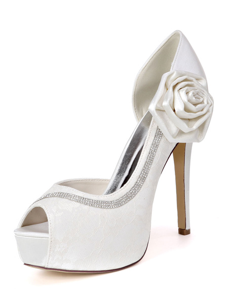 Milanoo Ivory Wedding Shoes Lace Platform Peep Toe Rhinestones High Heel Bridal Shoes