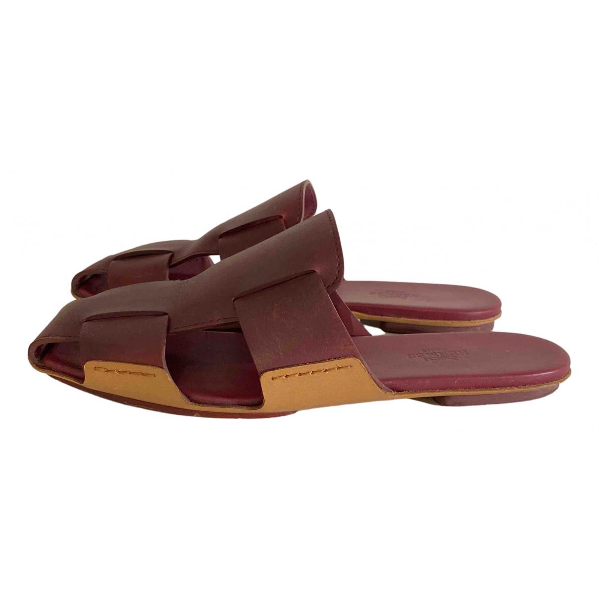 Hermes - Sandales   pour femme en cuir - bordeaux