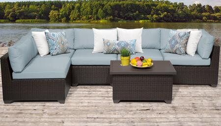 Belle Collection BELLE-06a-SPA 6-Piece Patio Set 06a with 2 Corner Chair   3 Armless Chair   1 Coffee Table - Wheat and Spa
