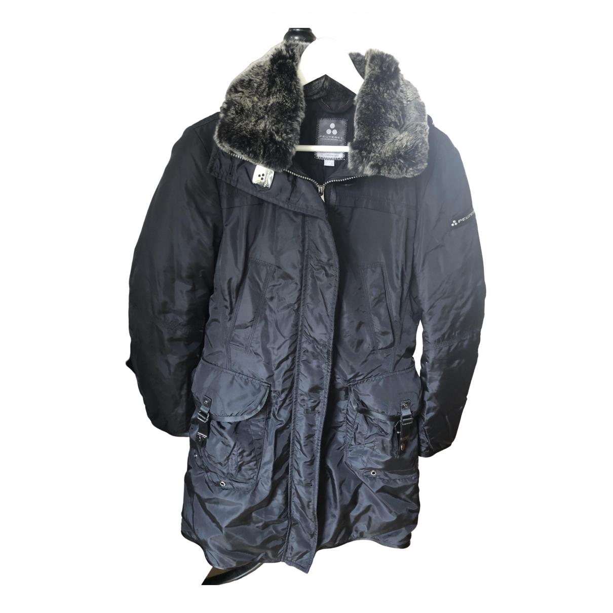 Peuterey - Manteau   pour femme en lapin - noir