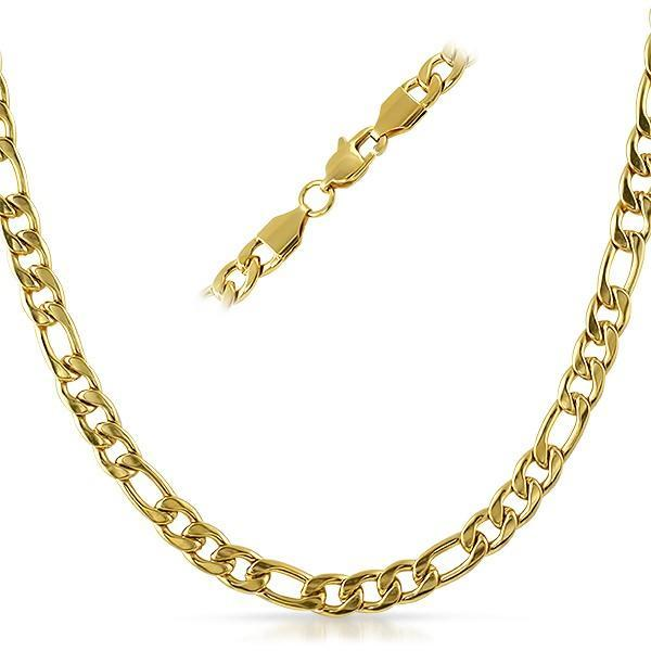 Figaro IP Gold Stainless Steel Chain Necklace 6MM