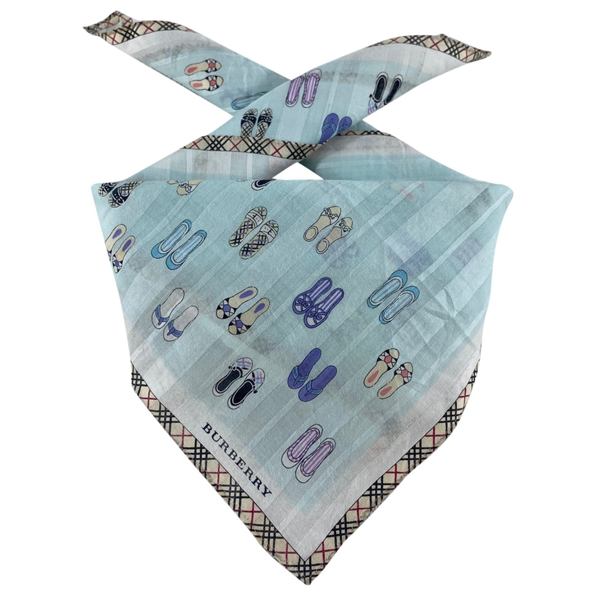 Burberry \N Turquoise Cotton scarf for Women \N