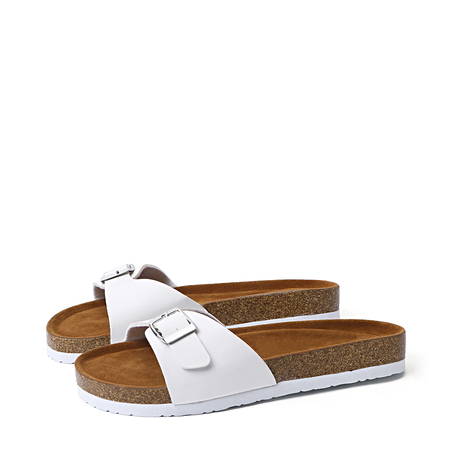 Yoins White Pin Buckle One Strap Slippers