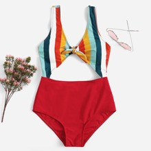 Striped Knot Front Cut-Out One Piece Swimsuit