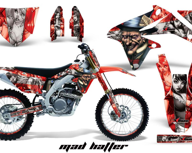 AMR Racing Graphics MX-NP-SUZ-RMZ450-08-17-HAT S R Kit Decal Sticker Wrap + # Plates For Suzuki RMZ450 2008-2017 HATTER SILVER RED