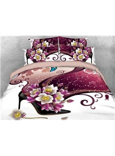 Flowers And Black Sexy High-heels 3D Printed 4-Piece Polyester Bedding Sets/Duvet Covers