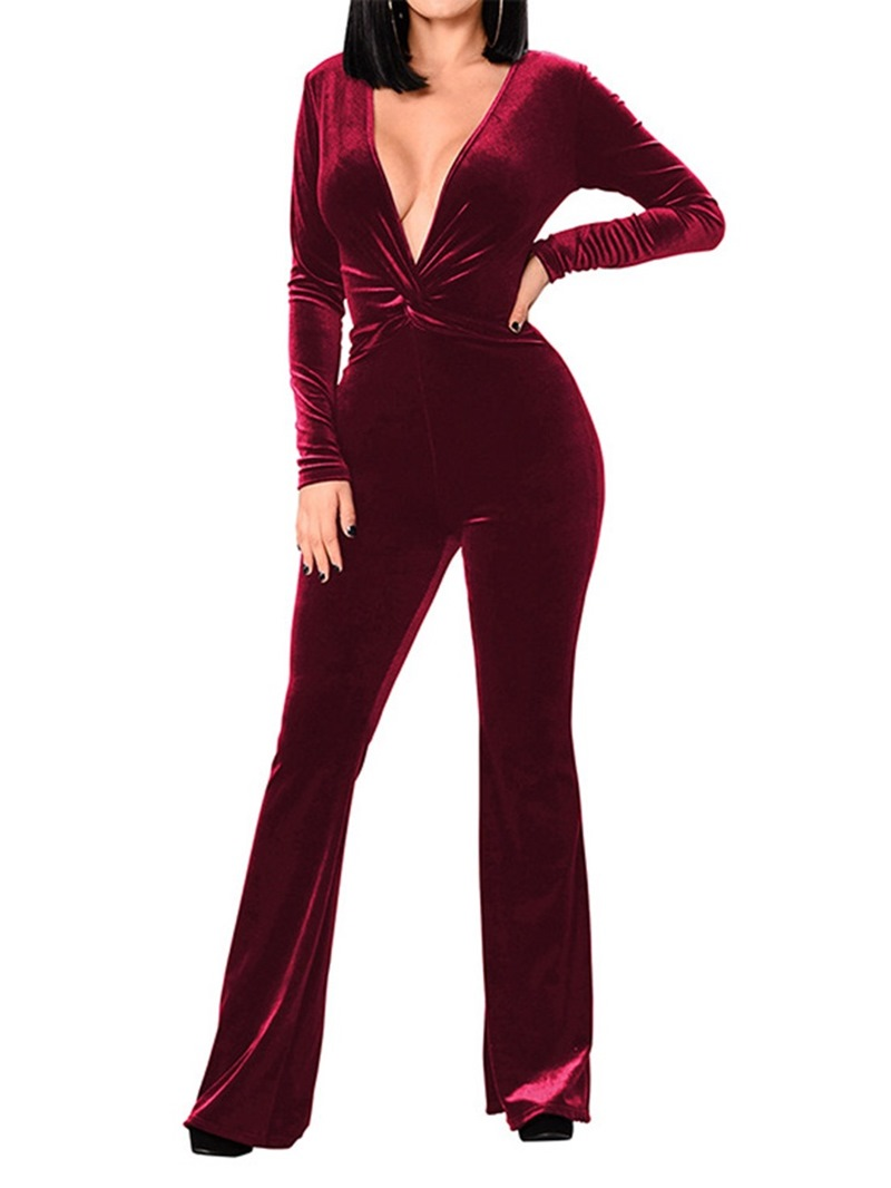 Ericdress Full Length Western Plain Bellbottoms Women's Slim Jumpsuit