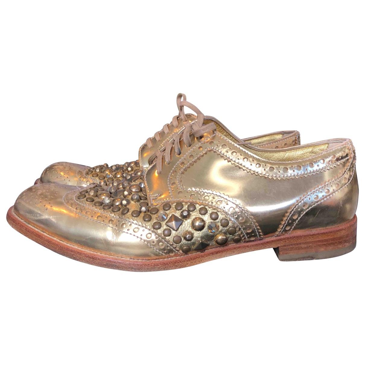 Dolce & Gabbana - Derbies   pour femme en cuir - dore