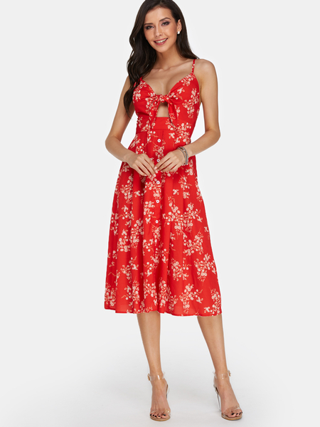 Yoins Red Floral Calico Print Backless Sexy Dress
