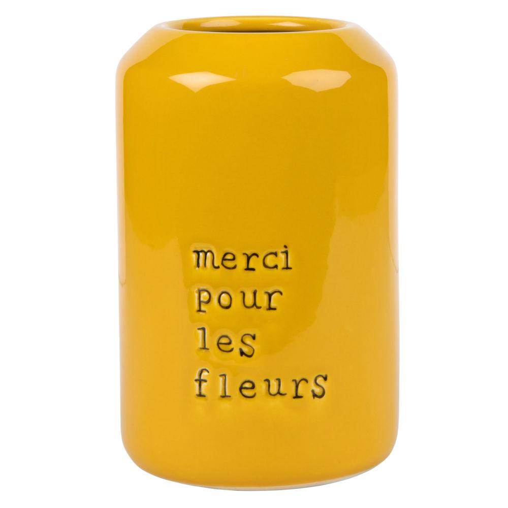 Vase aus gelber Keramik, schwarz bedruckt H22