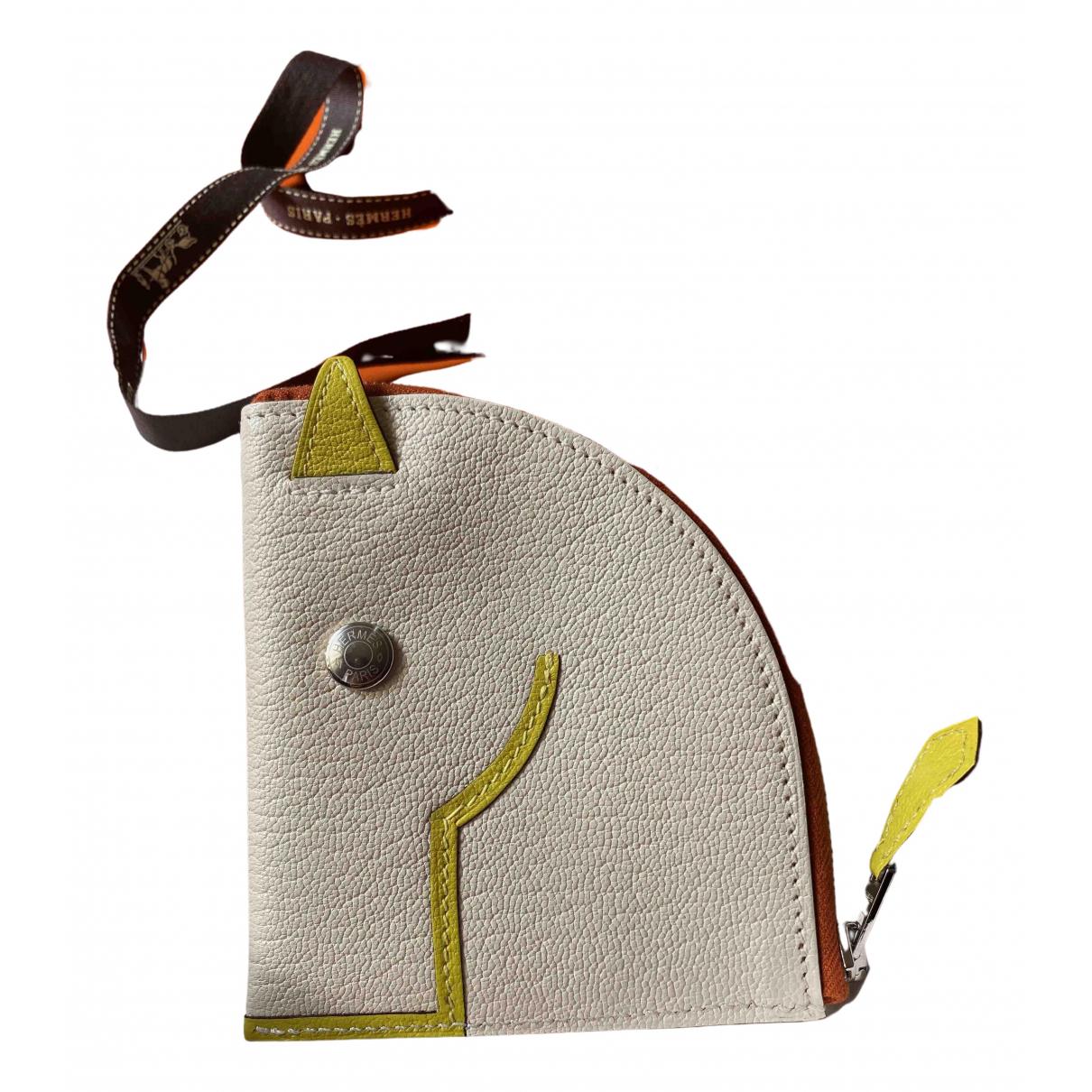 Hermes - Portefeuille   pour femme en cuir - blanc