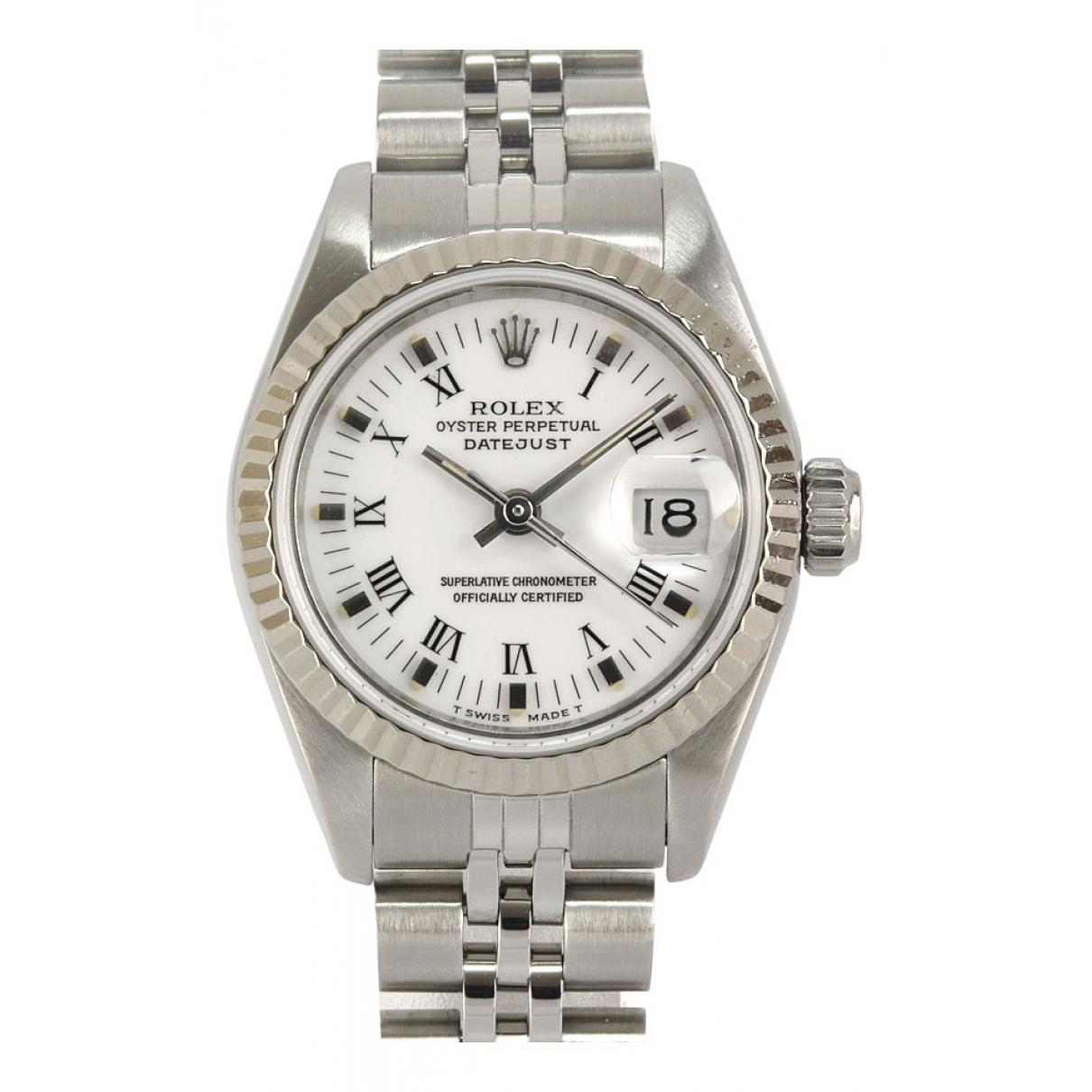 Rolex Lady DateJust 26mm Uhr in  Weiss Stahl