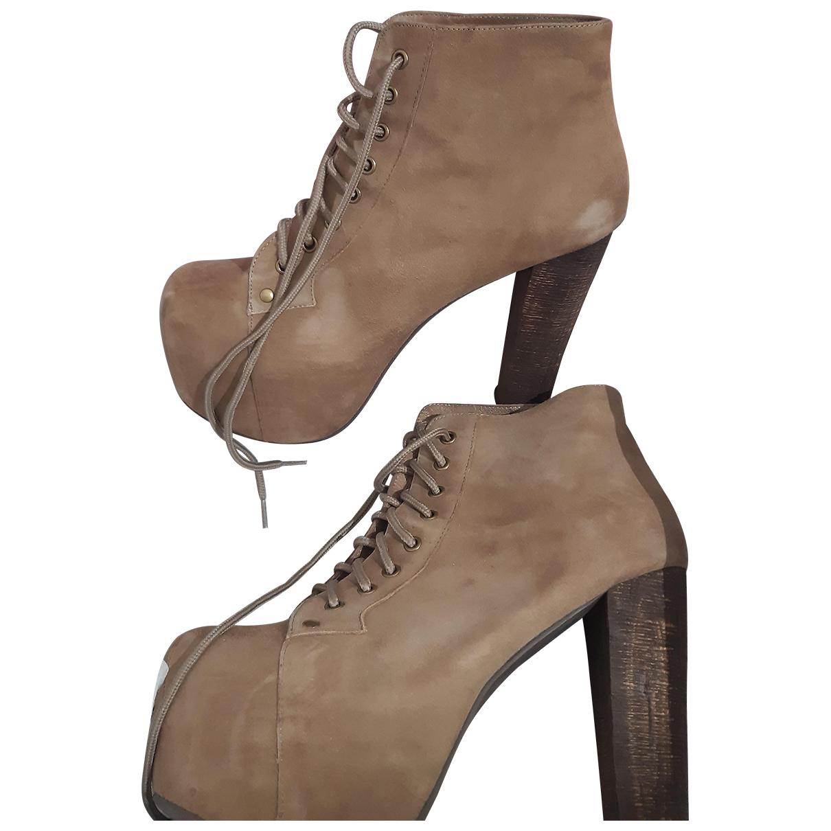 Jeffrey Campbell - Boots   pour femme en suede - beige