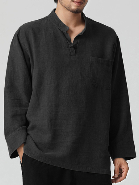 Yoins Men Cotton Linen Button Front Stand Collar Shirt