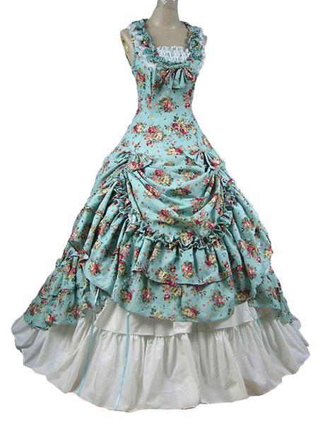 Milanoo Disfraz Halloween Disfraces retro para mujer Ruffle Traje de Maria Antonieta Vestido con estampado floral Vestido de baile de disfraces rococo