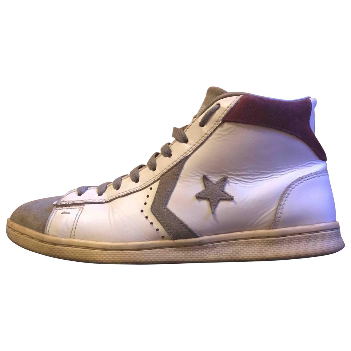 Converse \N Stiefel in  Weiss Leder