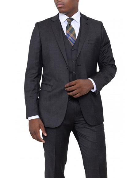 Mens Charcoal Gray Slim Fit Wool 3 Piece Vested Suit Flat Front Pants