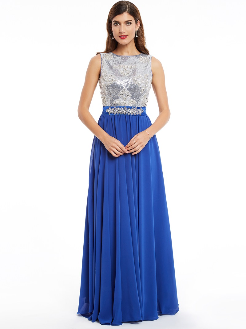 Ericdress Scoop Neck Sleeveless Sequins A Line Evening Dress