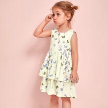 Kleid mit Schmetterling Muster und mehrschichtigem Saum