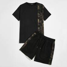 Men Letter and Camo Print Tee and Track Shorts Set