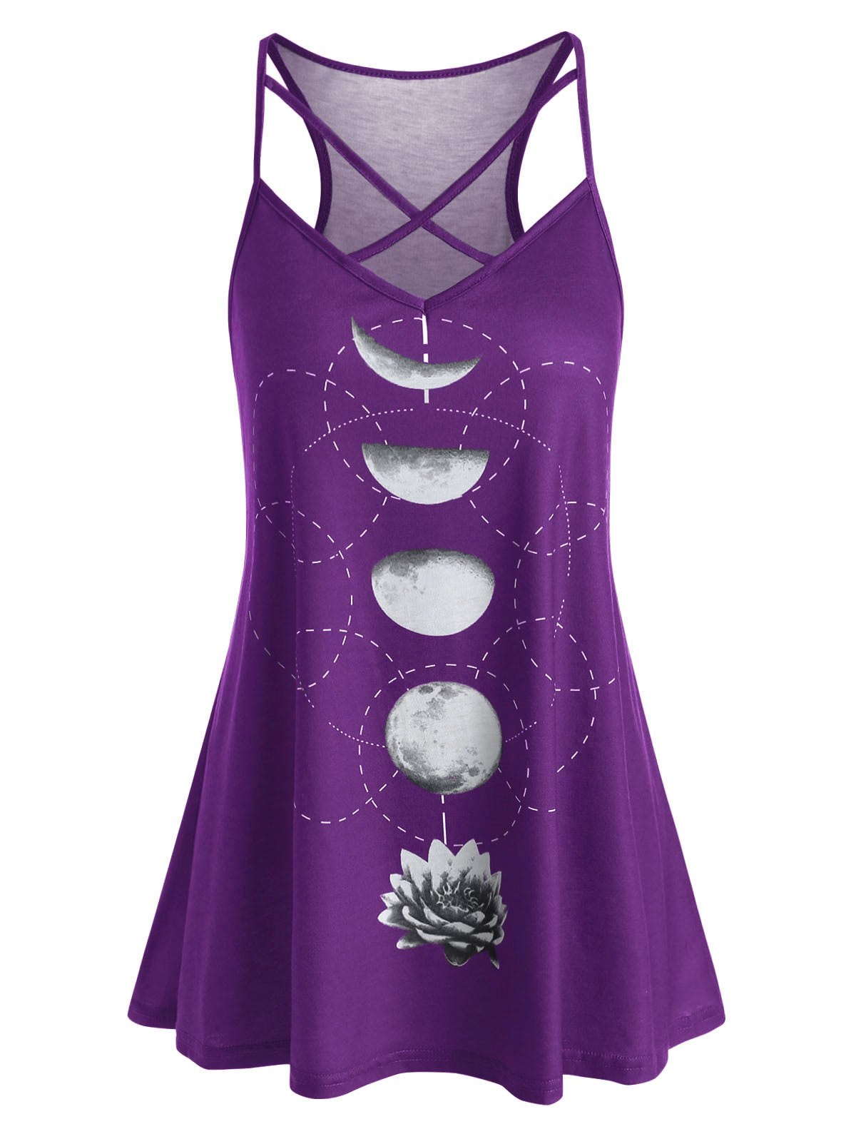 Plus Size Criss Cross Moon Flower Print Long Cami Top