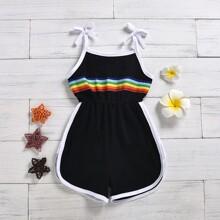 Kleinkind Maedchen Cami Romper mit Regenbogen Streifen und Kontrast Bindung