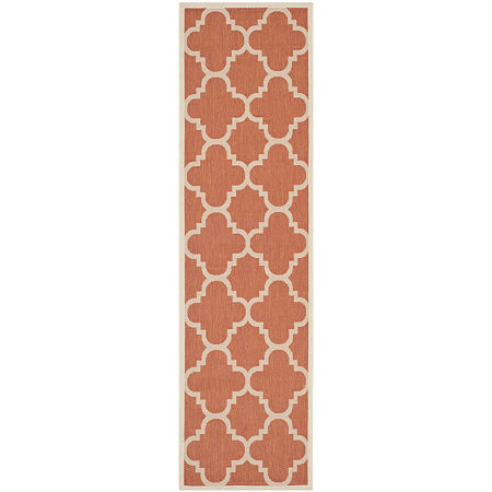 Safavieh Courtyard Collection Gina Geometric Indoor/Outdoor Runner Rug, One Size , Orange