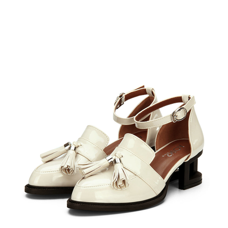 Yoins Apricot Leather Look Ankle Strap Hollow Heel Tassel Shoes