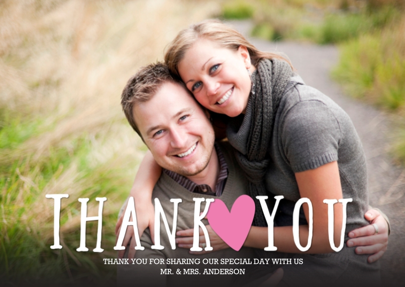 Wedding Thank You 5x7 Cards, Premium Cardstock 120lb, Card & Stationery -Thank You Heart You