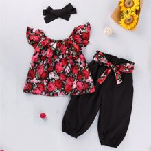 Toddler Girls Floral Ruffle Blouse & Belted Shorts & Headband