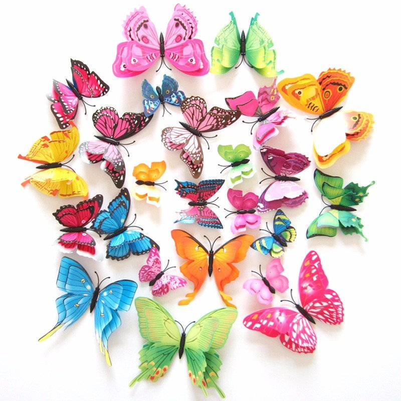 12PCS 7 Colors 3D Double Layer Butterfly Wall Sticker Fridge Magnet Art Applique