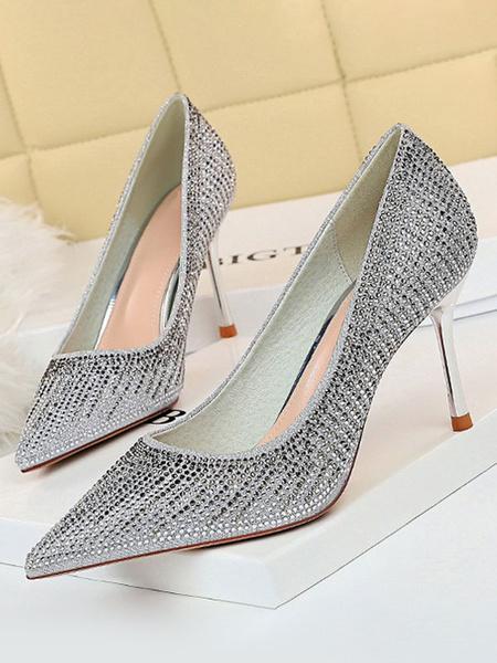 Milanoo Zapatos de fiesta de tacon alto Zapatos de noche de diamantes de imitacion con punta en punta de champan