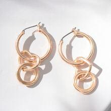 Runde Ohrringe mit Herzen Dekor