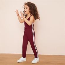 Kleinkind Maedchen Cami Jumpsit mit seitlichem Streifen und Knoten vorn